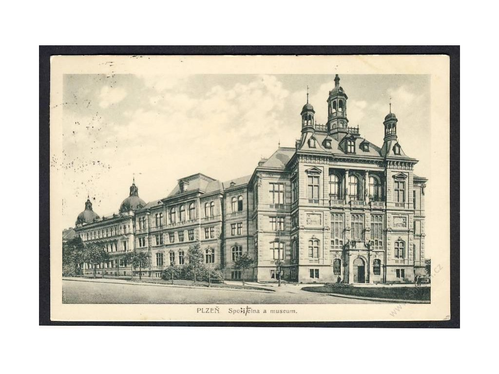 47 - Plzeň, spořitelna a muzeum, cca 1924