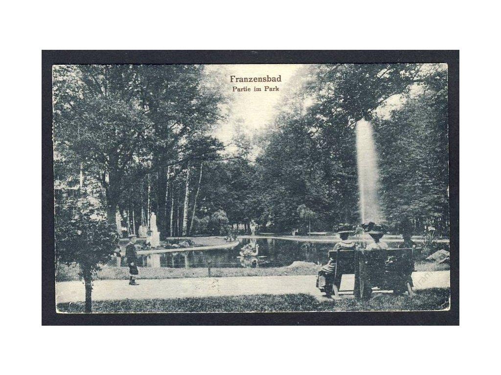 08 - Chebsko, Františkovy lázně (Franzensbad), partie v parku, cca 1925