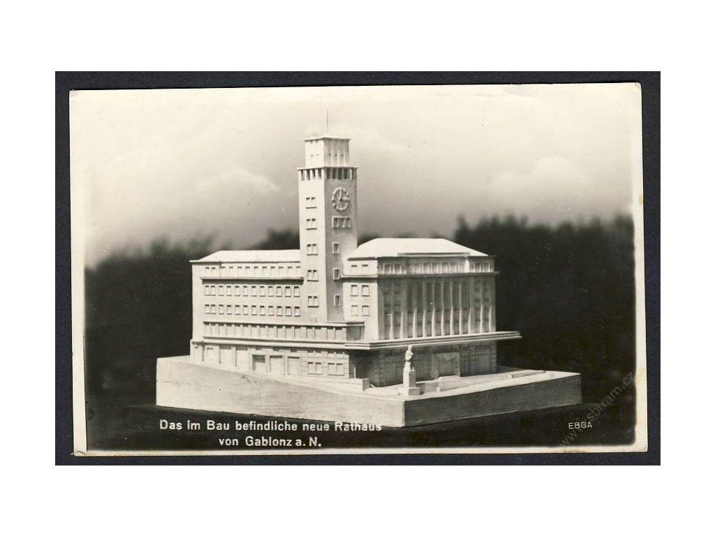 20 - Jablonec nad Nisou (Gablonz a. N.), model nové radnice, cca 1932