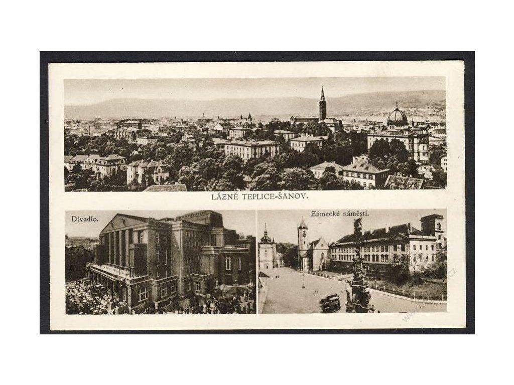 65 - Teplice, lázně Šanov, divadlo, zámecké náměstí, cca 1930