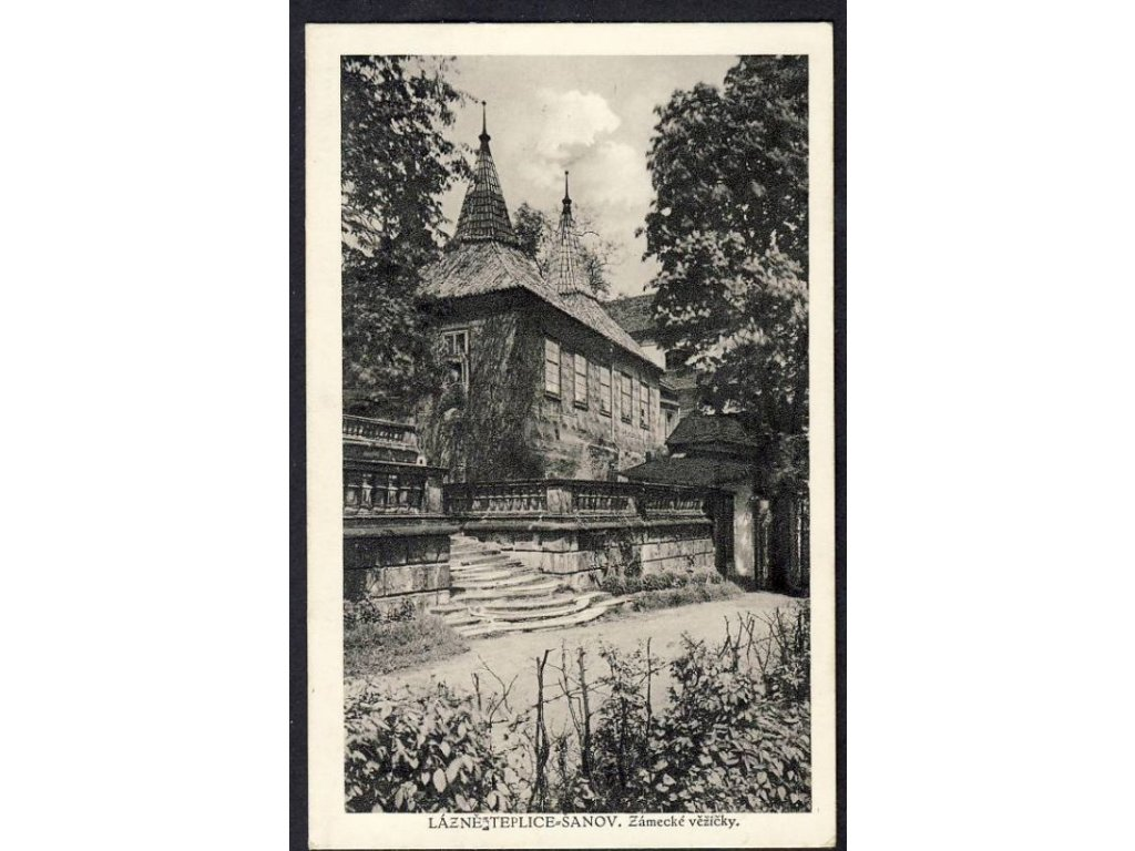 65 - Teplice, lázně Šanov, zámecké věžičky, cca 1930