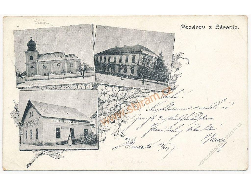 40 - Nymbursko, Běronice, 3 - záběr dominant, hostinec U Machů...,1905