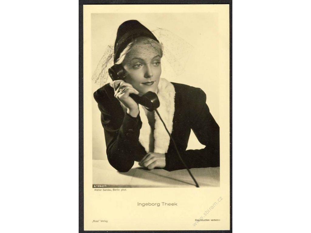 Herečka, Ingeborg Theek, foto Atelier Sandau, cca