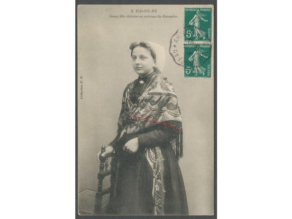 Ile de Ré, žena v kroji, cca 1920