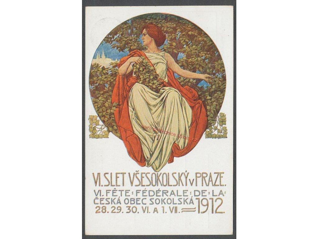 Sokolská, s reklamním přítiskem, cca 1912