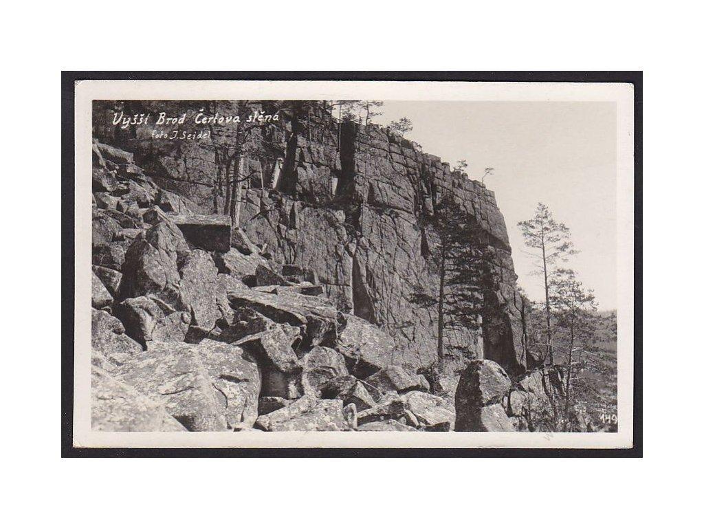 13 - Českokrumlovsko, Vyšší Brod, Čertova stěna, foto J. Seidel č.149, cca 1930
