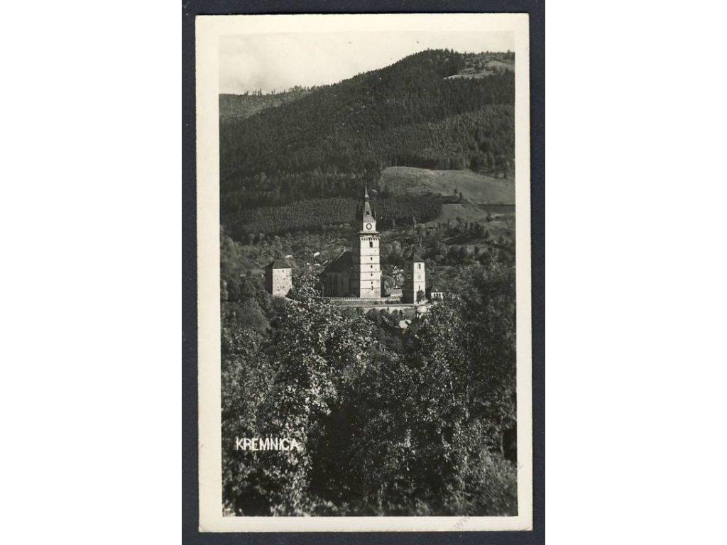 Slovensko, Kremnica, pohled na městský hrad, cca 1940