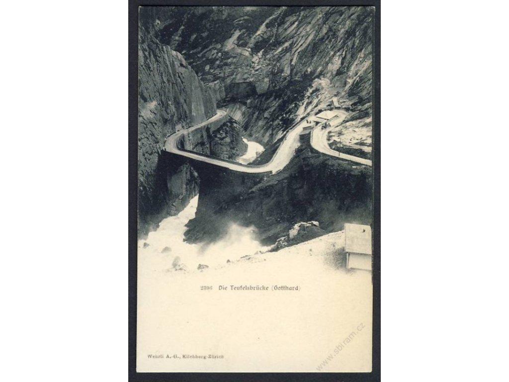 Swiss, Uri, Schöllenen Gorge, Teufelsbrücke (Devil&apos!s Bridge), cca 1908