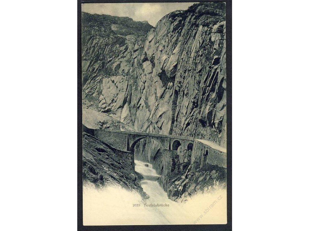Swiss, Uri, Schöllenen Gorge, Teufelsbrücke (Devil&apos!s Bridge), cca 1900