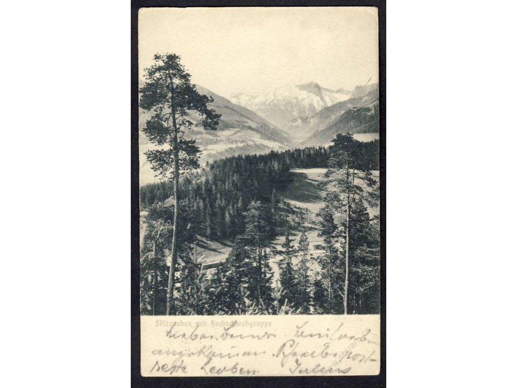 Austria, Styria, Fölzgraben with Hochschwabgruppe, cca 1907