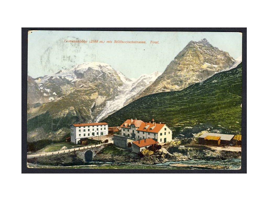 Italy, Stilfs, hotel Franzenshöhe with Stelvio Pass, cca 1910