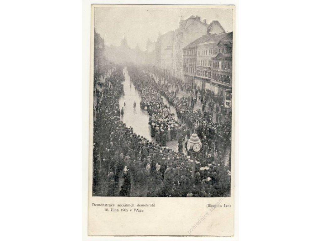 Demonstrace soc. demokratů 10. října Praha,ca 1905