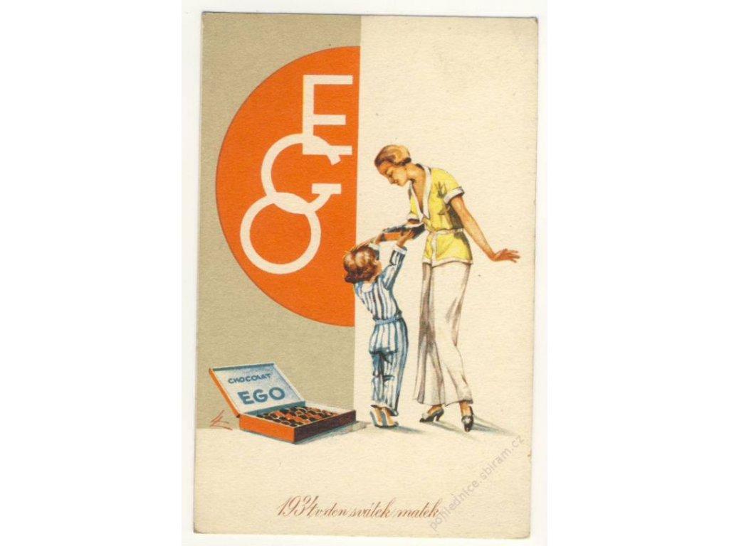 Reklamní, svátek matek, čokoláda EGO, ca 1930
