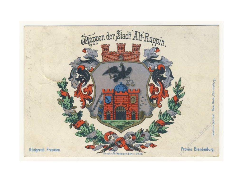 Erb města Alt-Ruppin, nákl. Wendisch, ca 1900