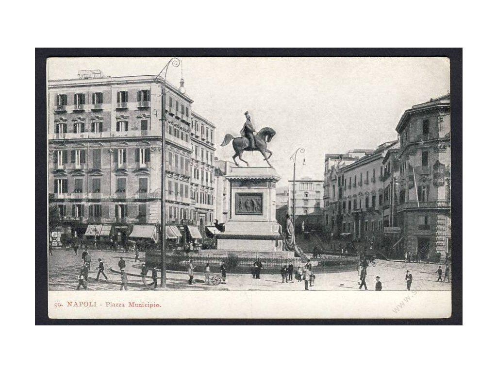 Italy, Campania, Naples, Piazza del Municipio, cca 1908