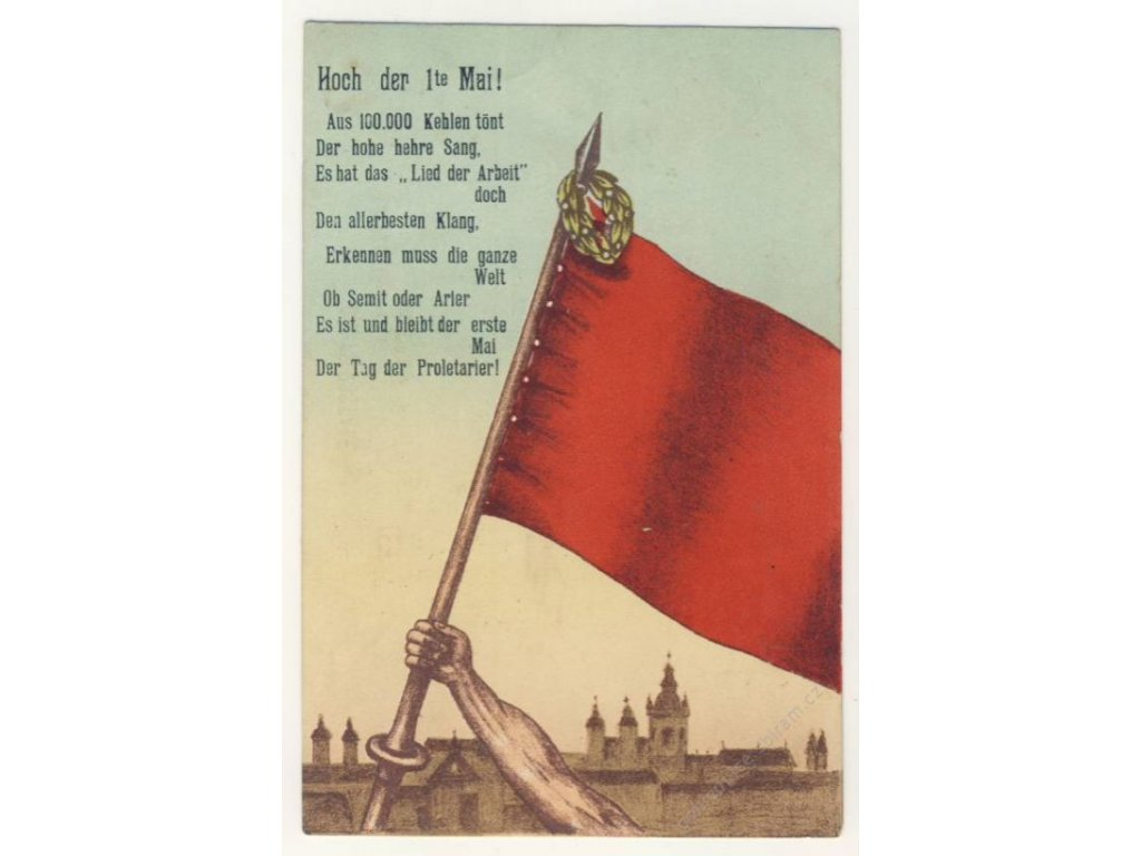 Píseň práce, první máj, vlajka, ca 1925
