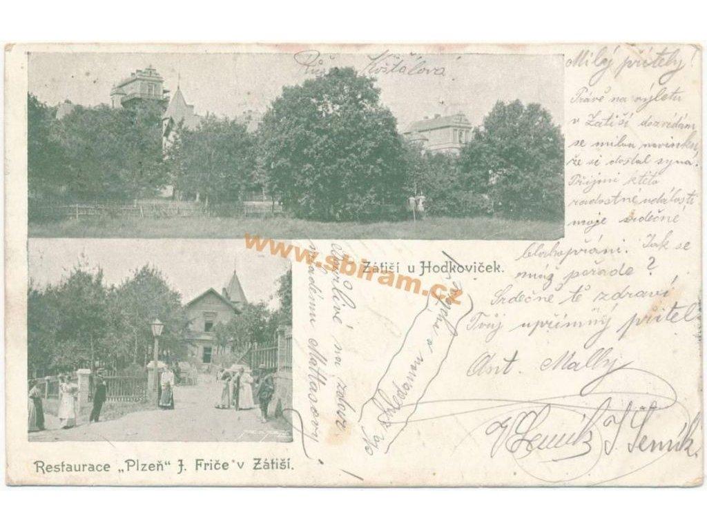 """49 - Praha, Zátiší u Hodkoviček, restaurace """"Plzeň"""" J. Friče, cca 1900"""