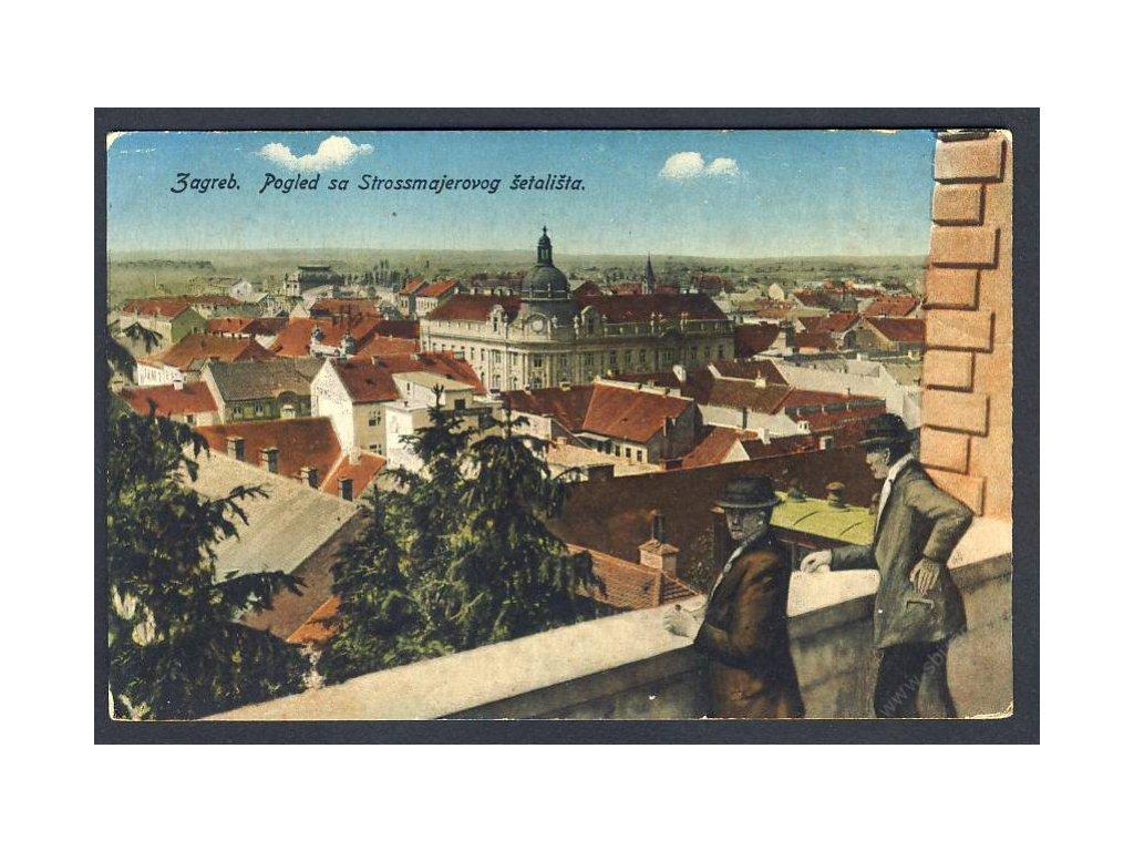 Croatia, Zagreb, view from Strossmayer Promenade, collage, cca 1915