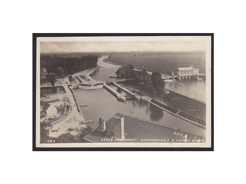 40 - Nymbursko, lázně Poděbrady, hydrocentrála a plavební komory, cca 1928