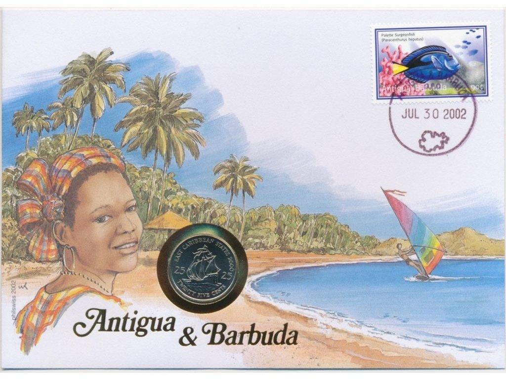 Antigua,mincovní dopis,rozměr 12,7 x 17,7 cm,2002,sběratelský stav