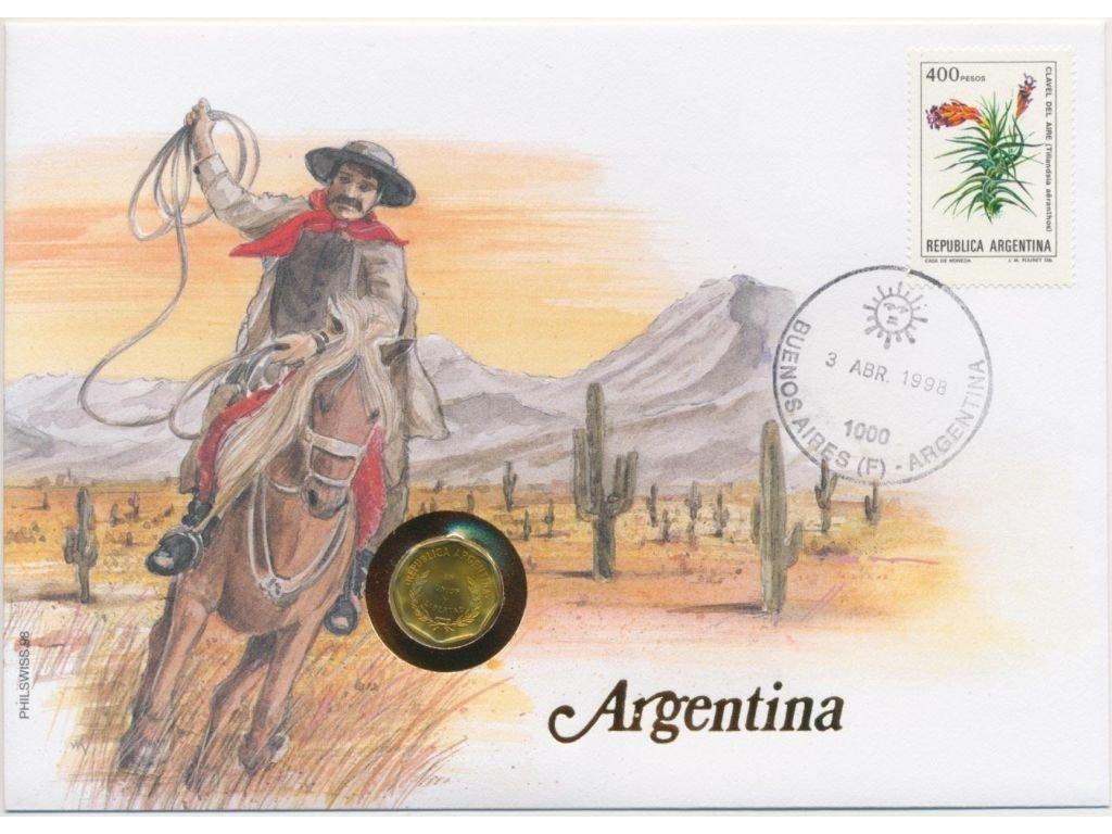 Argentina,mincovní dopis,rozměr 12,7 x 17,7 cm,1998,sběratelský stav