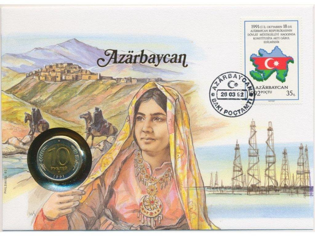 Azerbajdžán,mincovní dopis,rozměr 12,7 x 17,7 cm,1992,sběratelský stav