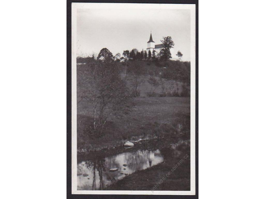 10 - Chrudimsko, Ronov n. Doubravou, kostel a hřbitov u sv. Kříže, grafo Čuda, cca 1935