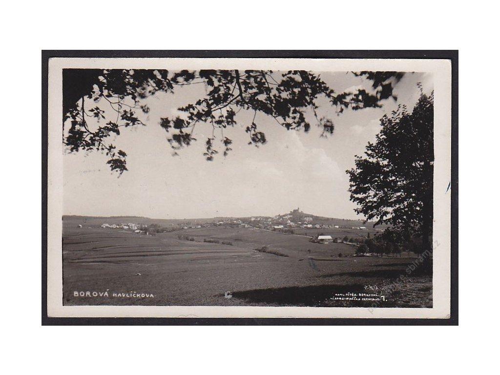 17 - Havlíčkobrodsko, Havlíčkova Borová, pohled z dály, cca 1937