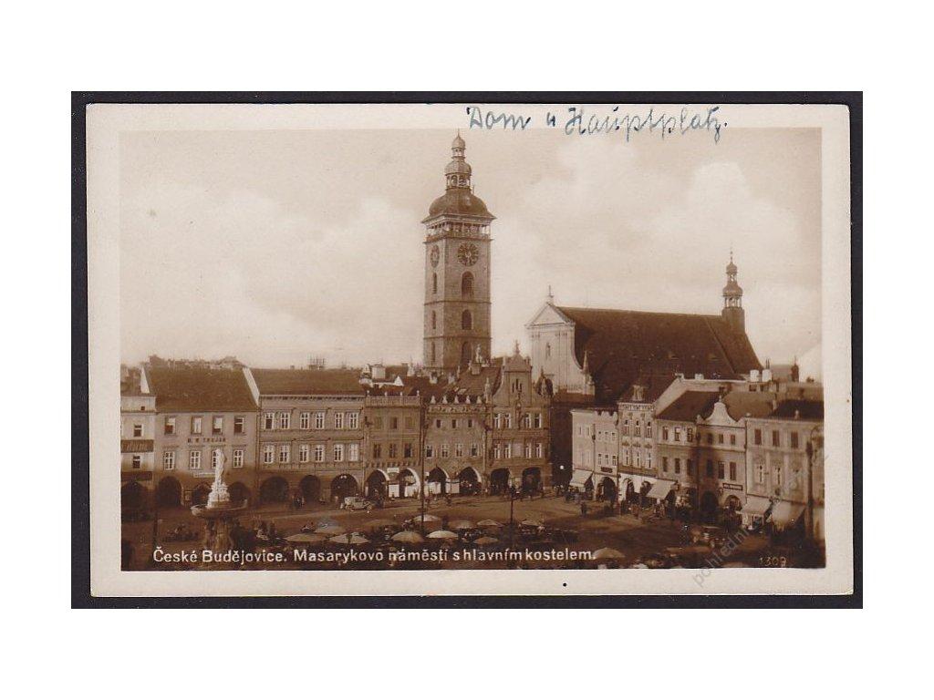 12 - České Budějovice, Masarykovo náměstí s hlavním kostelem, cca 1935