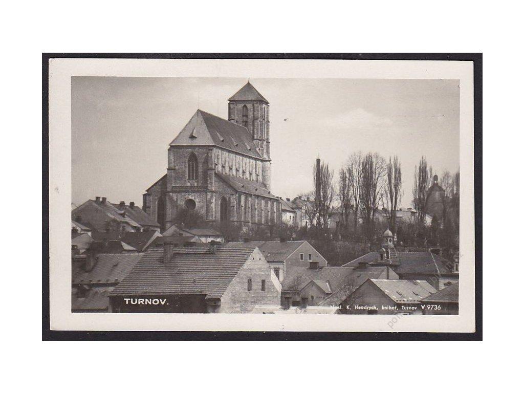58 - Semilsko, Turnov, pohled na kostel Narození Panny Marie, foto Fon, cca 1930