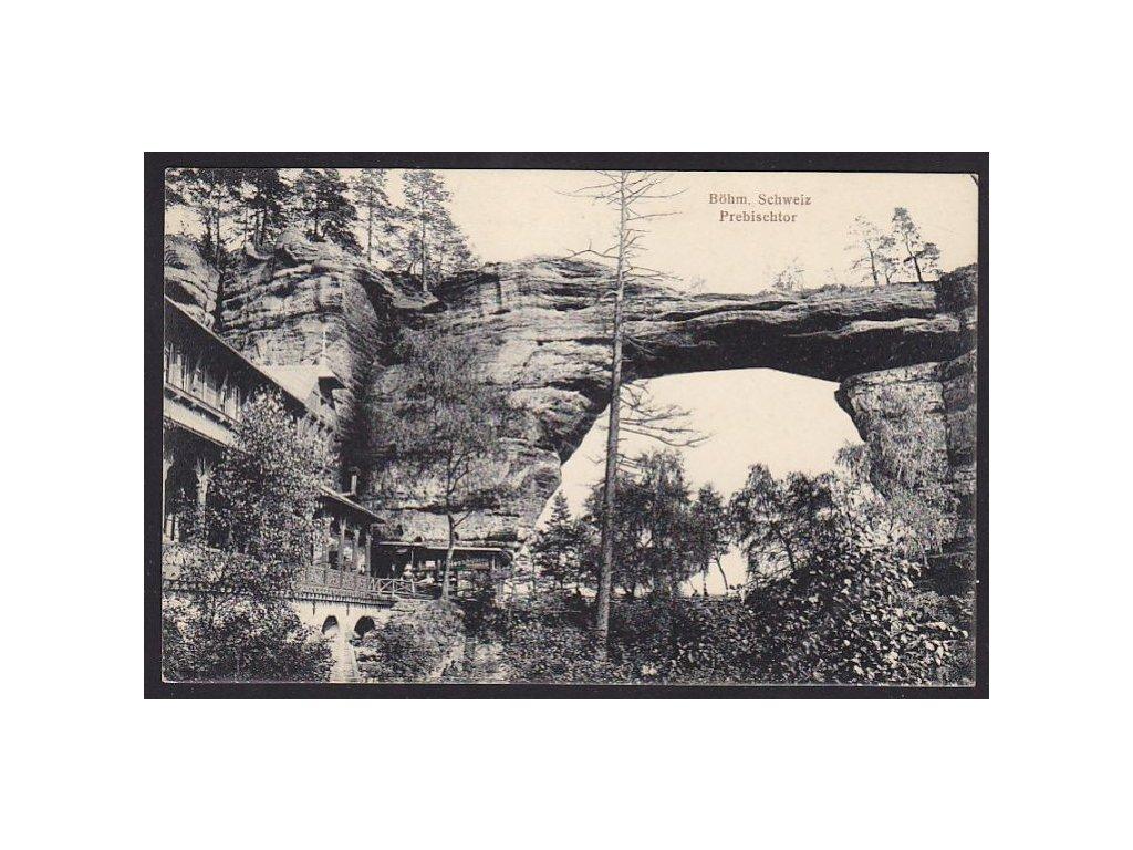 14 - Děčínsko, Hřensko, České Švýcarsko, Pravčická brána (Prebischtor), cca 1915