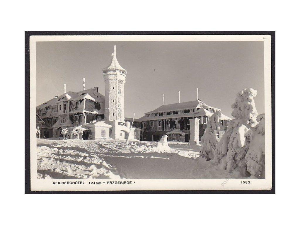 25 - Karlovarsko, Krušné hory (Erzgebirge), hotel Keilberg, cca 1940