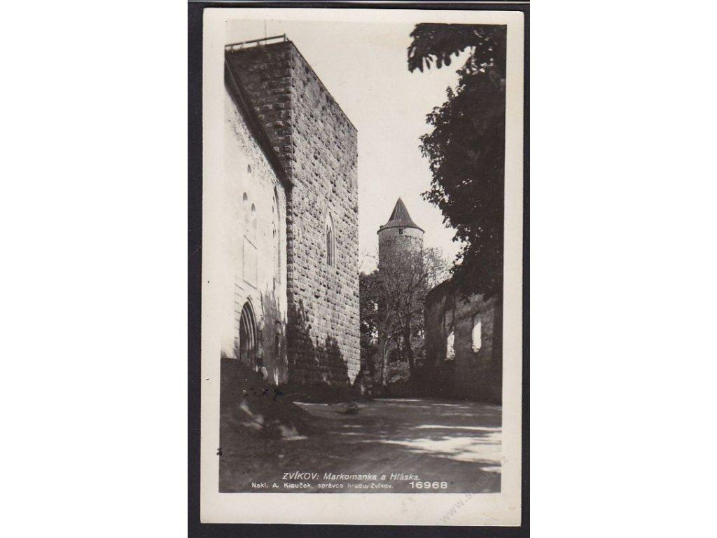 46 - Písecko, hrad Zvákov, Markomanka a Hláska, foto Fon, cca 1930