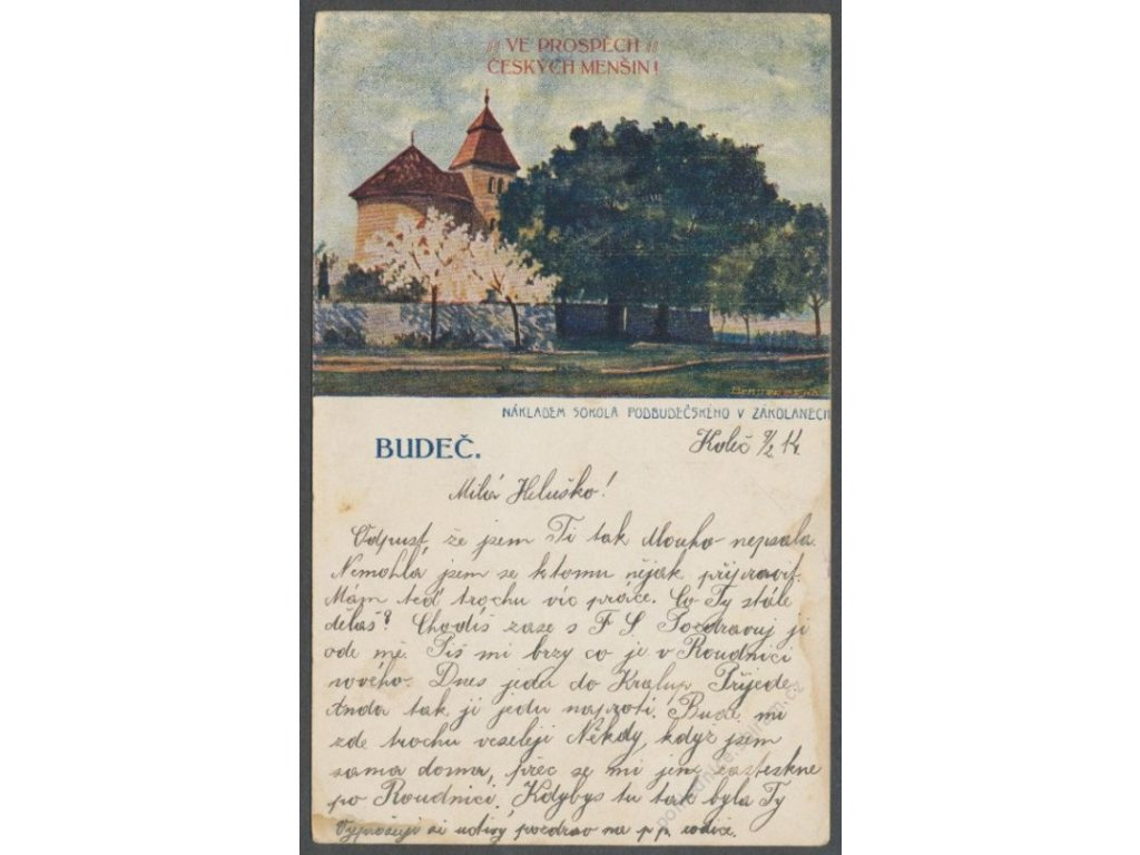 27 - Kladensko, Budeč (hradiště), kostel sv. Petra a Pavla, cca 1914