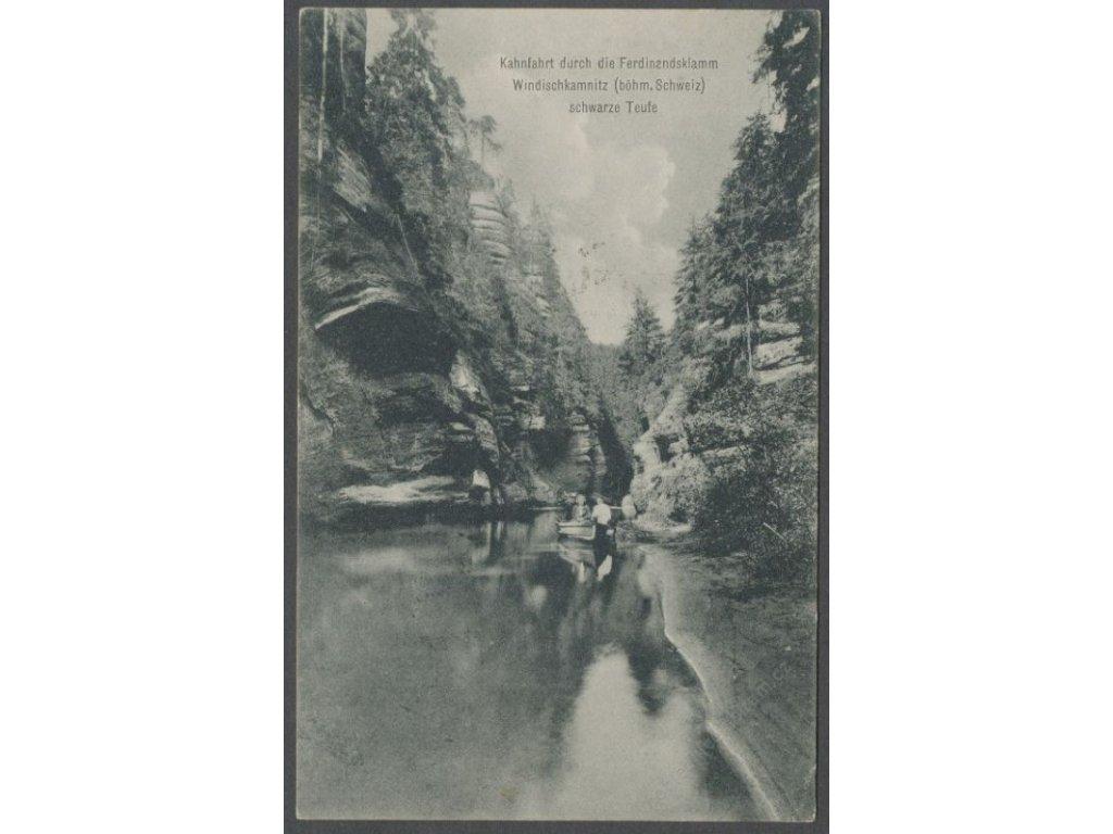 14 - Děčínsko, Hřensko, České Švýcarsko, Srbská Kamenice, lodičky na řece, cca 1910