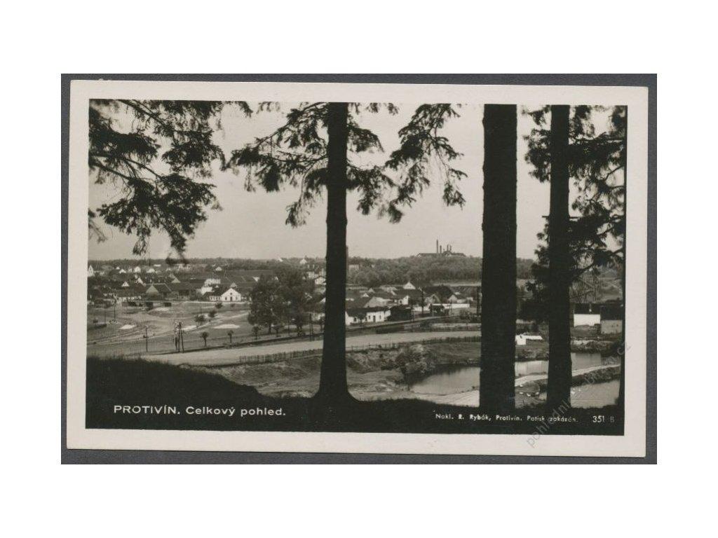 46 - Písecko, Protivín, celkový pohled, foto Fon, nakl. Rybák, cca 1935
