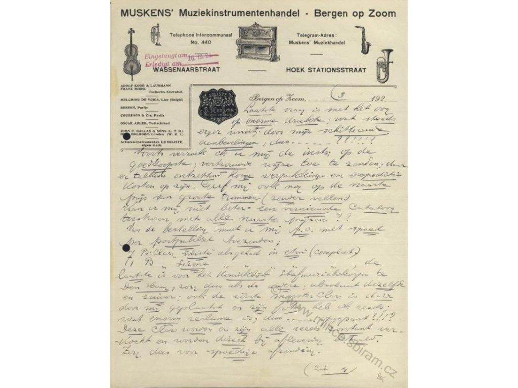 Bergen op Zoom, hlavičkový účet firmy Muskens, 1923