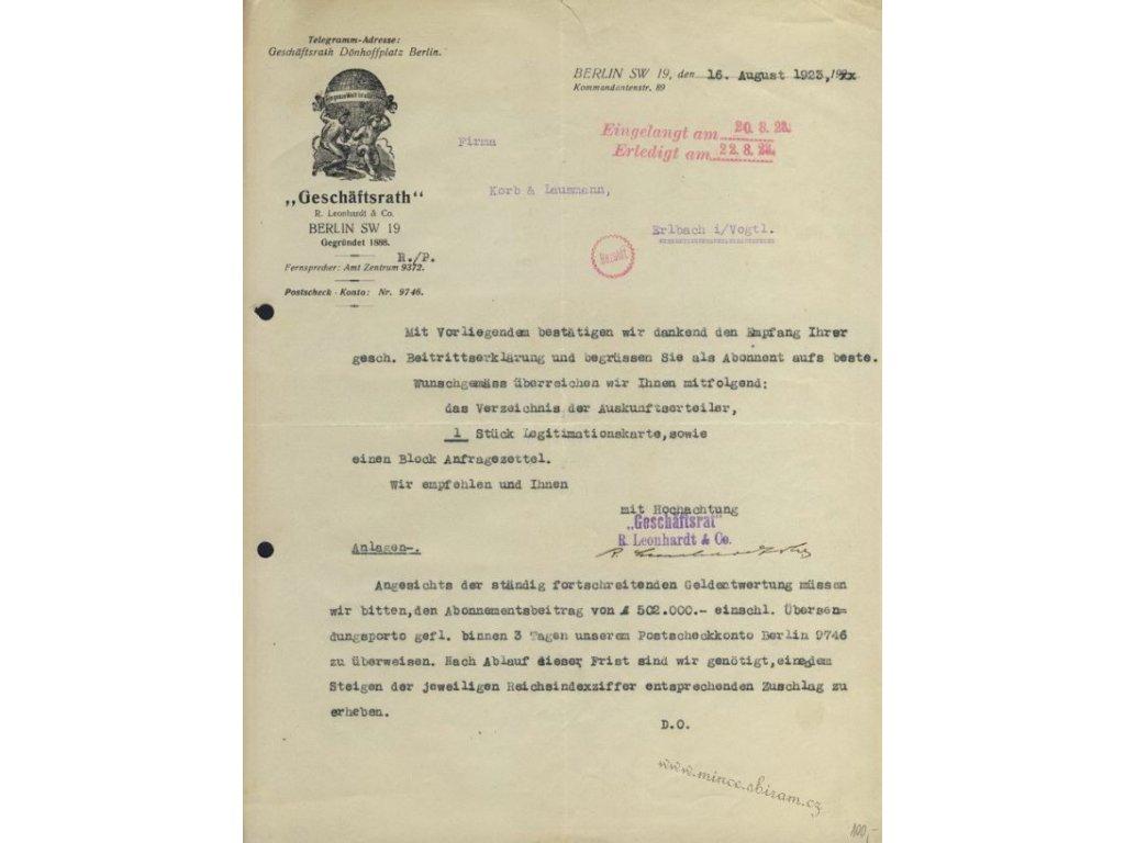 Berlín, hlavičkový list firmy Geschäftsrath, 1923