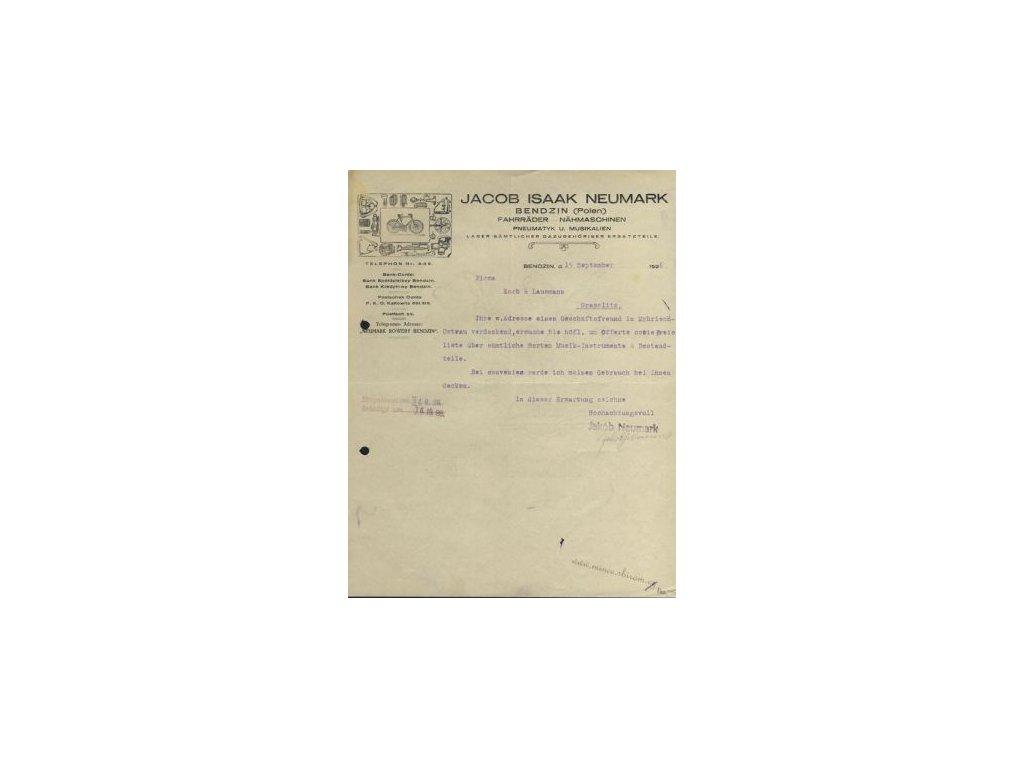 Bendzin, hlavičkový list firmy Jacob Isaak Neumark, 1926