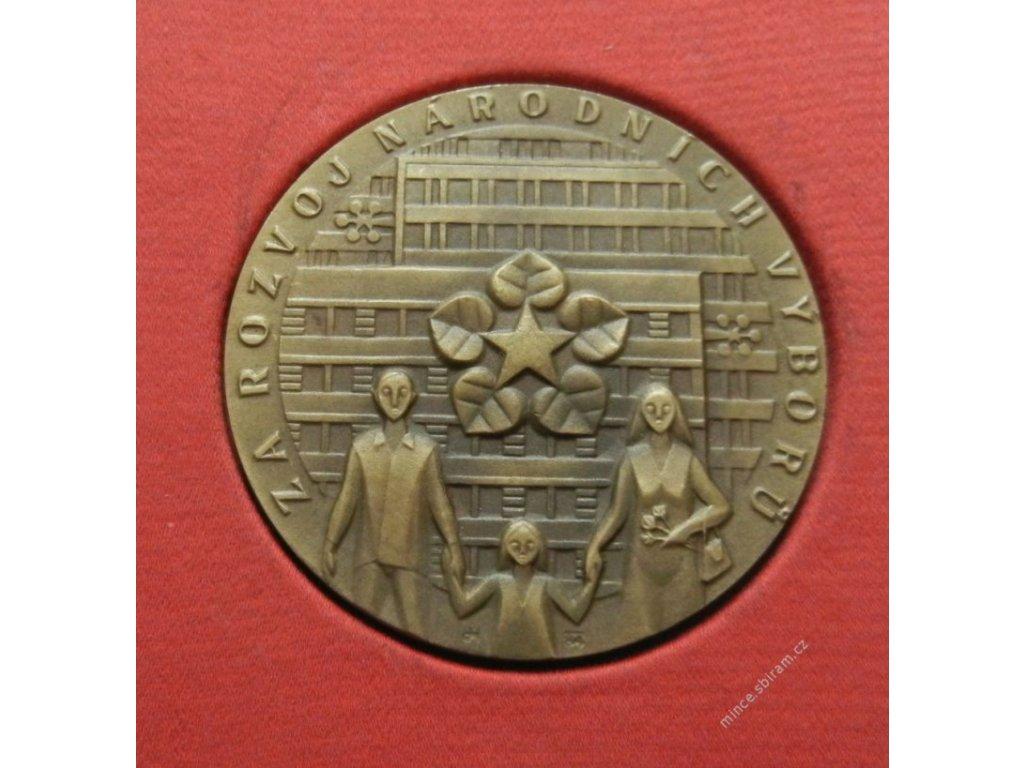 ČSSR, AE medaile Za rozvoj Národních výborů, etue, cca 1975