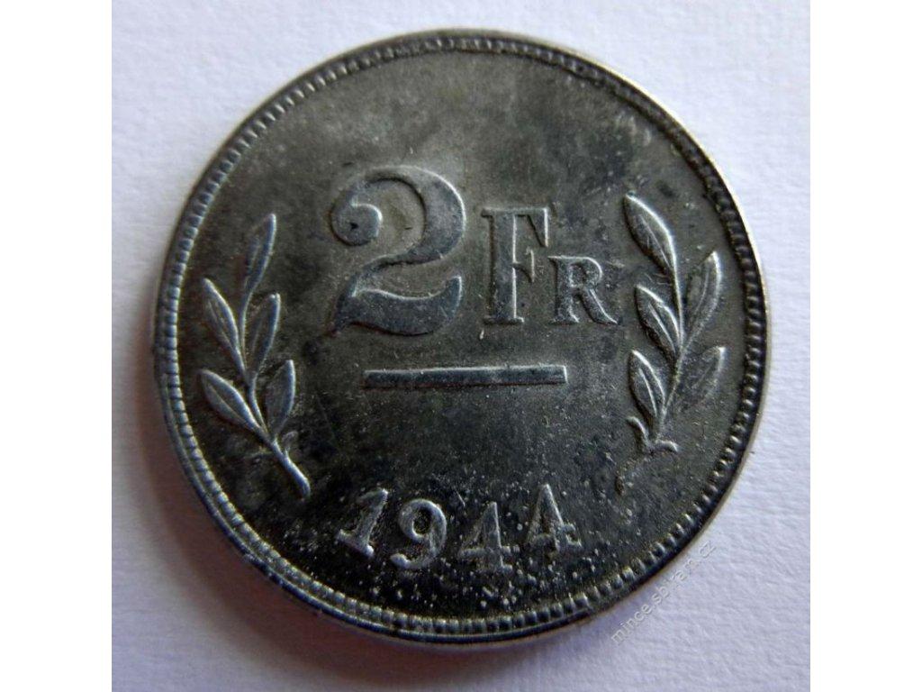 Belgie, mince 2 Fr, 1944
