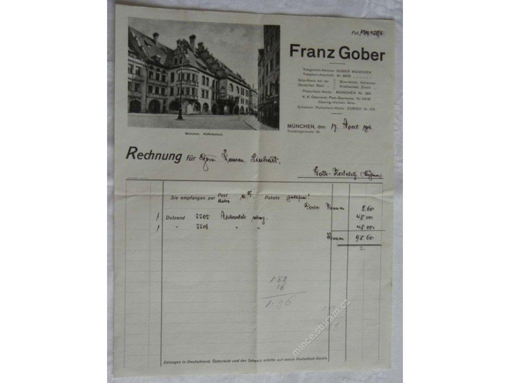 Hlavičkový účet firmy Franz Grober, Mnichov