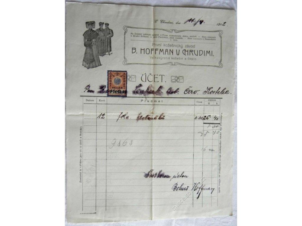 Chrudim, hlavičkový účet kožešiny Hoffman, 1912