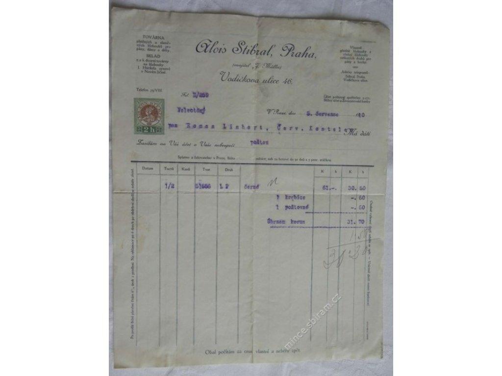 Praha, hlavičkový účet kloboučnictví Stibral, 1910