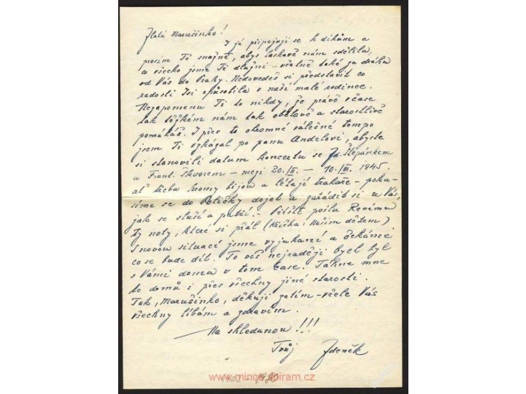 Zdeněk Otava (1902-1980), český operní pěvec,dopis ()