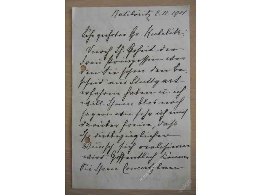Baronka princezny Luisy Dánské, dopis Kubelíkovi ()