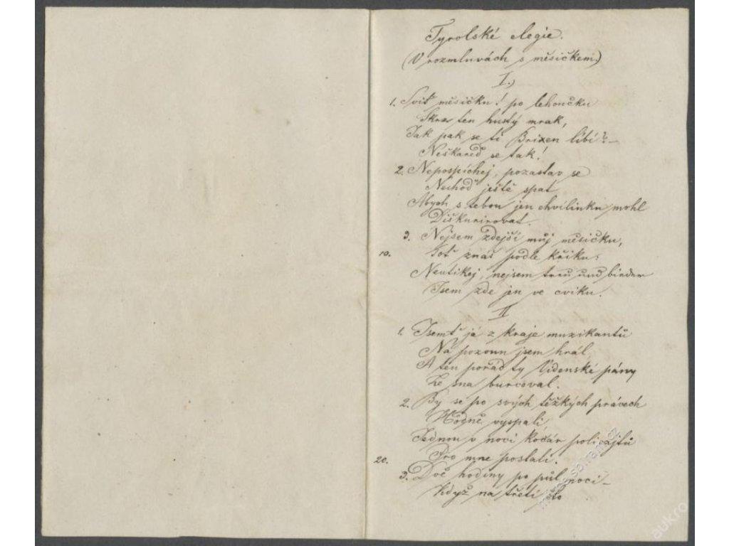 Tyrolské elegie, přepis známé básně, cca 1870 ()