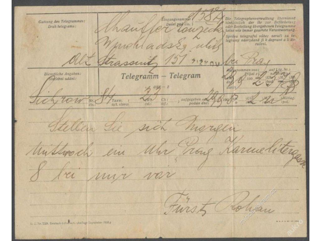 Rakousko-Uhersko, telegram psaný knížetem Rohanem ()