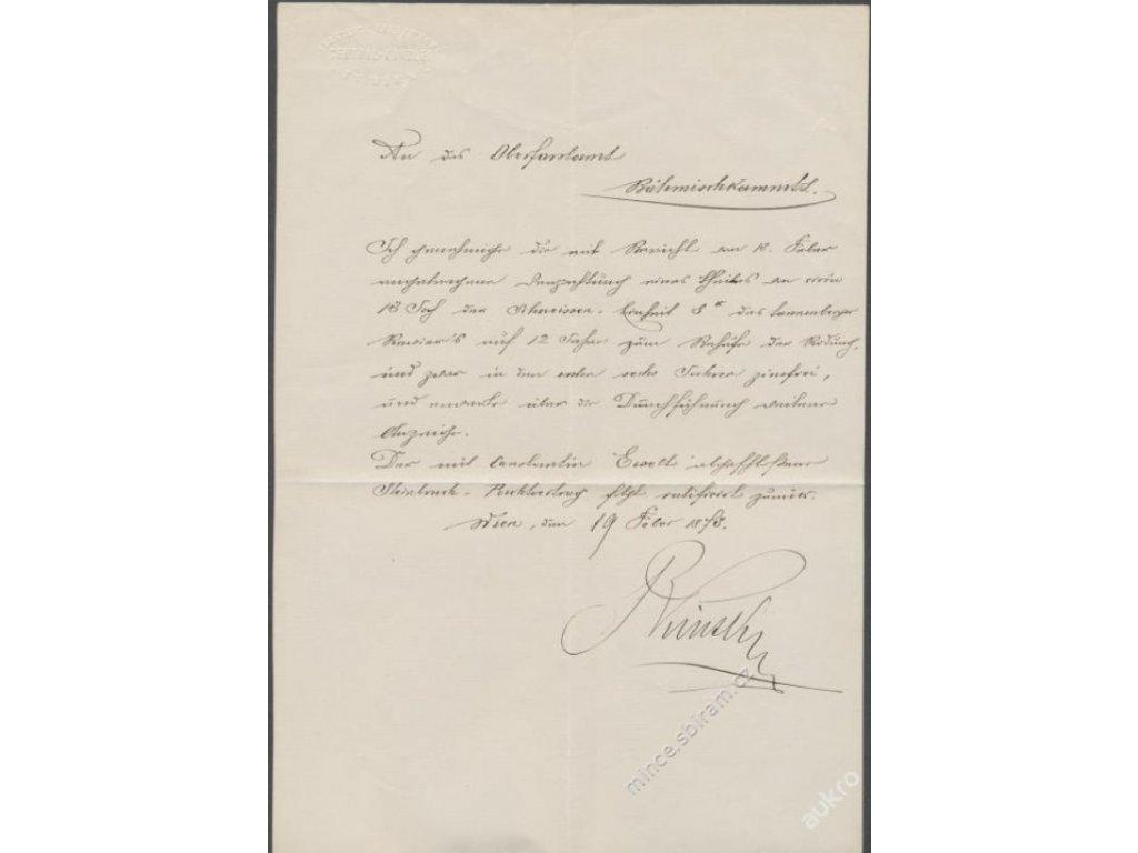 Bedřich Karel Kinský (1834-1899),osobní dopis,1873 ()