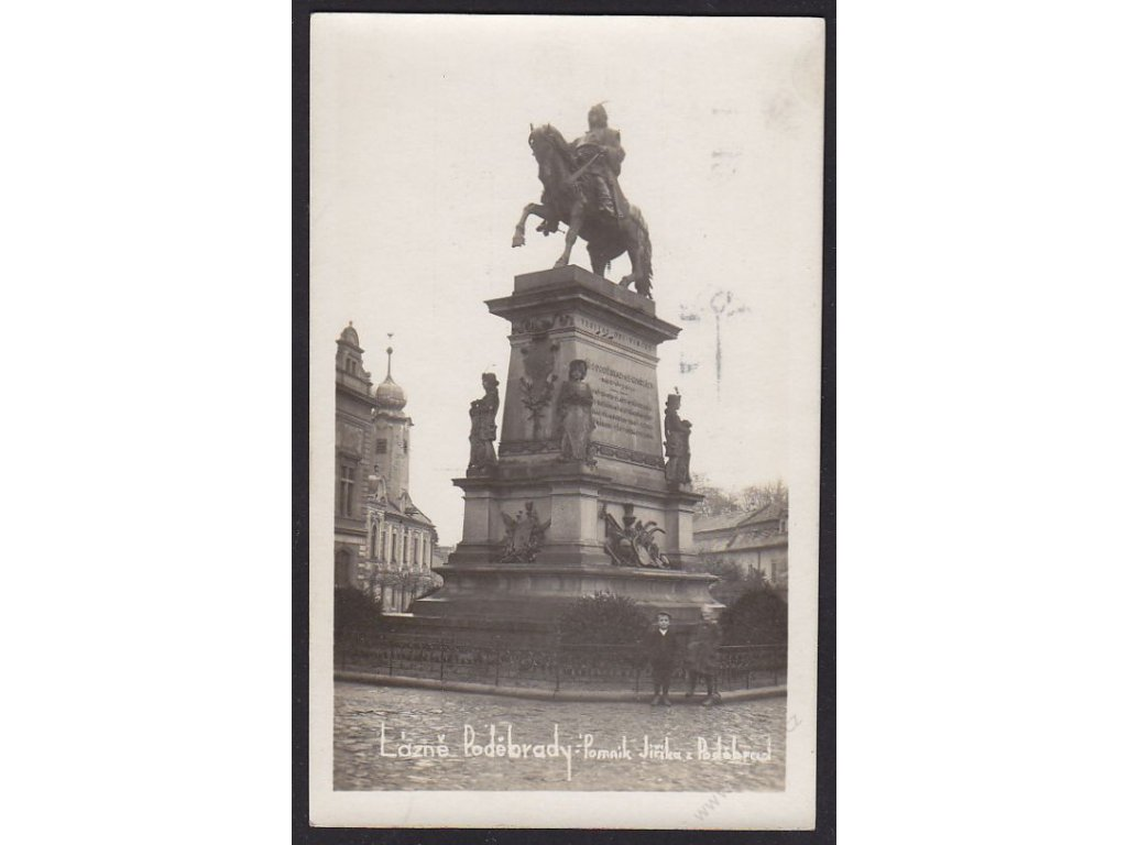 40 - Nymbursko, lázně Poděbrady, pomník Jiřího z Poděbrad, foto Čuda, cca 1930